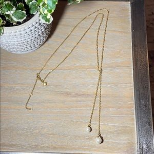 J. Crew Classic Gold Necklace with Hanging Pearls